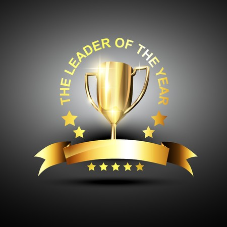 trophy in golden color in business leading theme