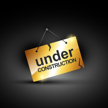 vector under construction sign in shiny golden color