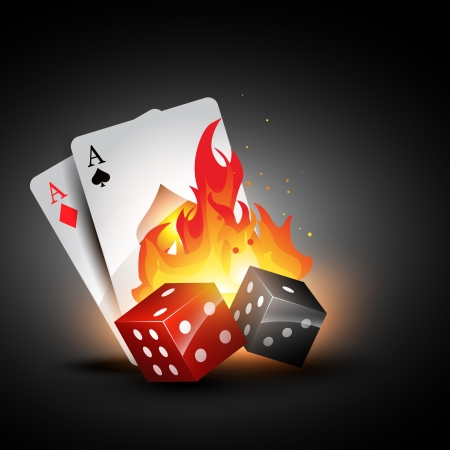 dices burning design with playing card illustration