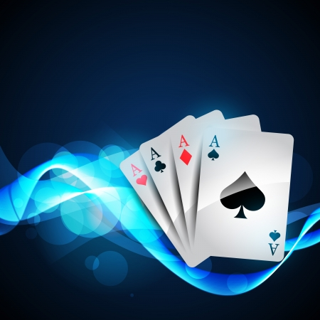 playing cards on beautiful glowing blue background