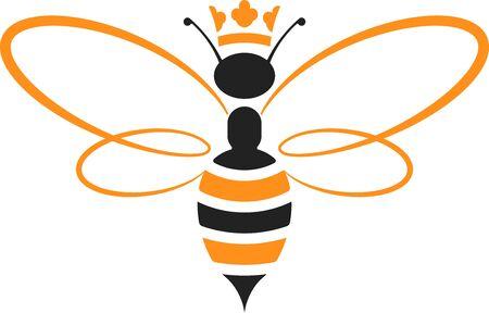 Ilustración de Queen bee icon with crown in yellow and black. Isolated and geometric. - Imagen libre de derechos