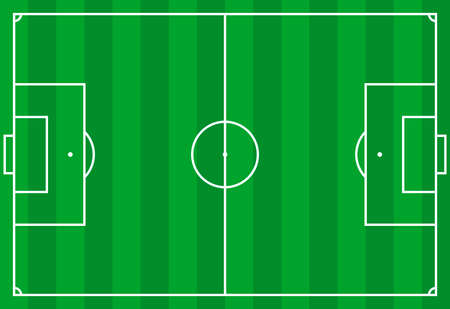 Illustration pour Frontal view of soccer or european football field. Geometric and flat. - image libre de droit