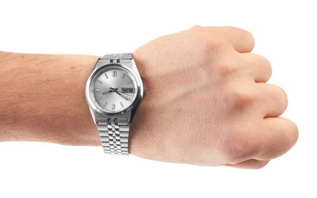 watch on man`s hand on white background