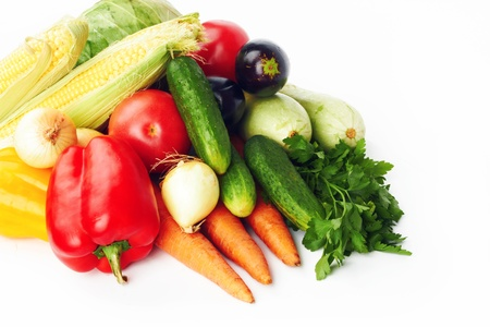 different vegetables on a white background の写真素材