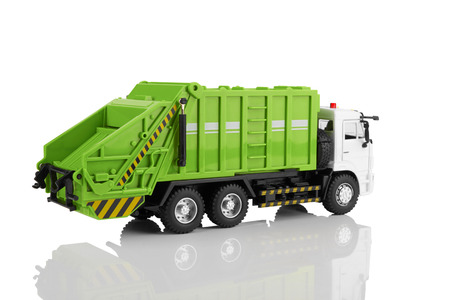 Garbage truck toy isolated on a white background