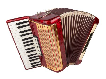 Foto de Retro accordion isolated on white background - Imagen libre de derechos