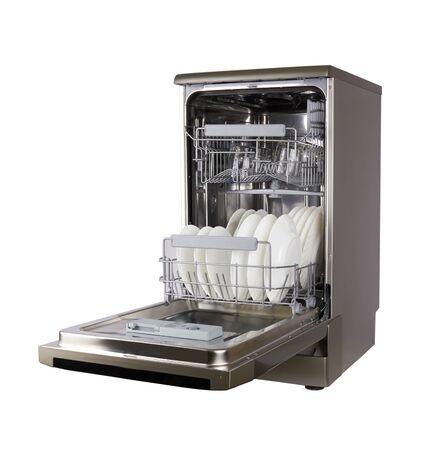 Photo for Dishwasher machine isolated on a white background - Royalty Free Image