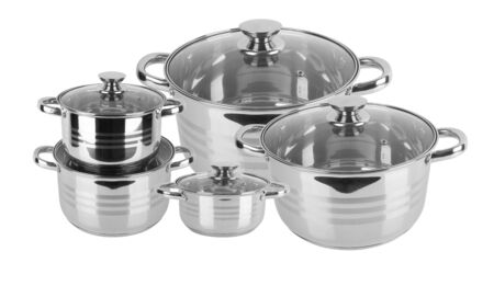 Foto für chrome pan with lid isolated on white background - Lizenzfreies Bild