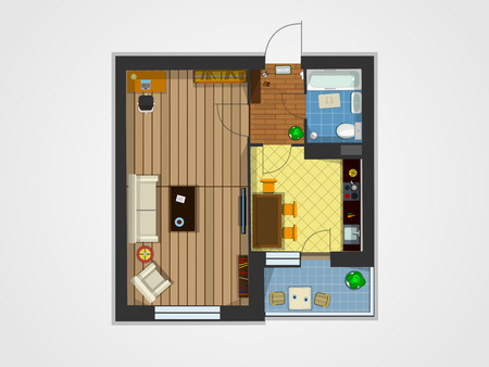 Plan of the apartment with furniture. Kitchen, living room, and balcony. Vector illustration of top view