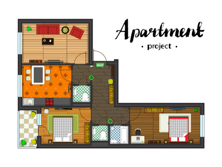 Apartment project with furniture. Kitchen, living room, two bedroom and balcony. Handwritten inscription. illustration of top view