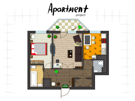 Apartment project. Floor plan with furniture. Kitchen, living room, two bedroom and balcony. Handwritten inscription.
