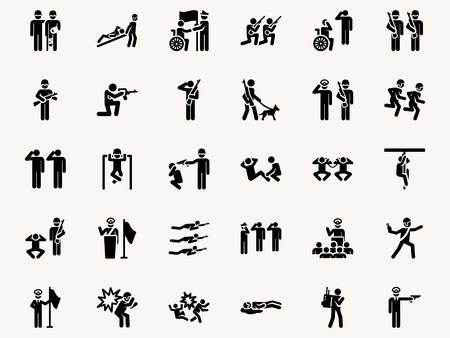 Foto per Stick figures Military pictograms. Vector Monochrome illustration pictogramms - Immagine Royalty Free