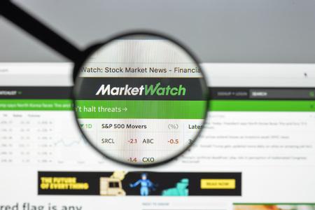 Milan, Italy - August 10, 2017: Market watch website homepage. Marketwatch logo visible.