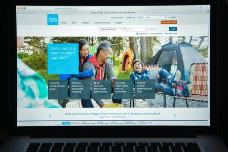 Milan, Italy - August 10, 2017: Schwab website homepage.  Schwab logo visible.