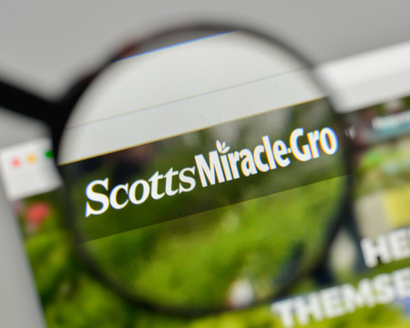 Milan, Italy - November 1, 2017: Scotts Miracle-Gro logo on the website homepage.