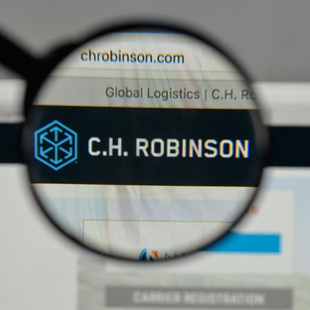 Milan, Italy - August 10, 2017: C.H. Robinson Worldwide logo on the website homepage.
