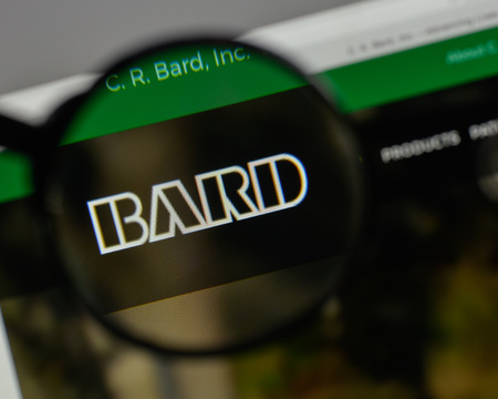 Milan, Italy - August 10, 2017: C.R. Bard logo on the website homepage.