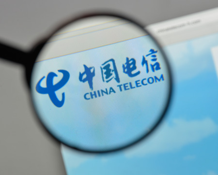 Milan, Italy - August 10, 2017: China Telecom logo on the website homepage.