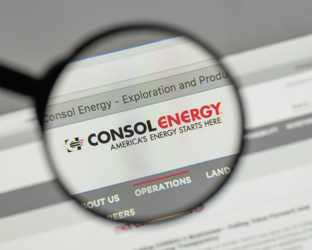 Milan, Italy - August 10, 2017: Consol Energy logo on the website homepage.