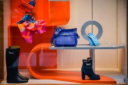 Photo pour Milan, Italy - September 24, 2017:  Hermes store in Milan. Fashion week Hermes shopping - image libre de droit
