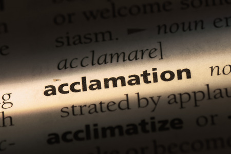 acclamation word in a dictionary. acclamation concept.