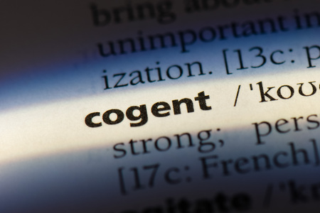 cogent word in a dictionary. cogent concept
