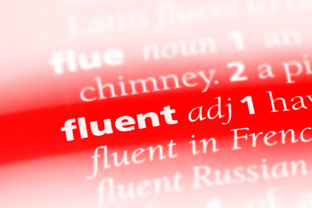 fluent word in a dictionary. fluent concept