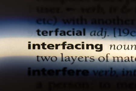interfacing word in a dictionary. interfacing concept.
