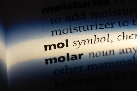 mol word in a dictionary. mol concept.