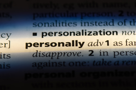 personally word in a dictionary. personally concept.