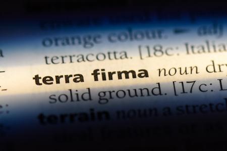 terra firma word in a dictionary. terra firma concept.