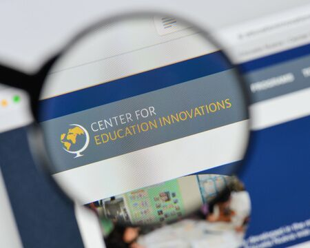 Milan, Italy - August 20, 2018: Escuela Nueva website homepage. Escuela Nueva logo visible.