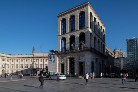 Milan, Italy - 30 June 2019: View of Building of Arengario, Museo del Novecento Museum of 900