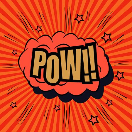Illustration pour Pow comic bubble text. Pop art style. The cartoon with sound effects and funny spiral background. Template for web and mobile applications - image libre de droit