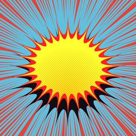 Illustration pour Speech comic bubble in pop-art style. Cartoon with burst radial lines, halftone effect and blot for comic strip. Explosion vector illustration - image libre de droit