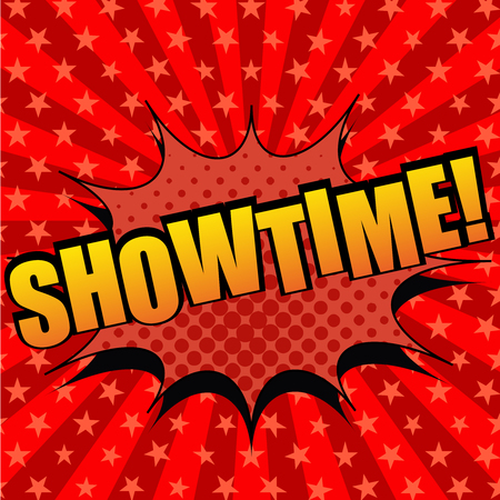 Illustration pour Showtime comic cartoon text. Pop-art style. The illustration with halftone effects and radial background with stars. Template for web and mobile applications - image libre de droit