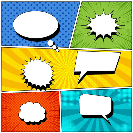 Illustration pour Comic book page background with empty colorful speech bubbles in pop-art style. Rays, radial, halftone, dotted effects. Vector illustration - image libre de droit