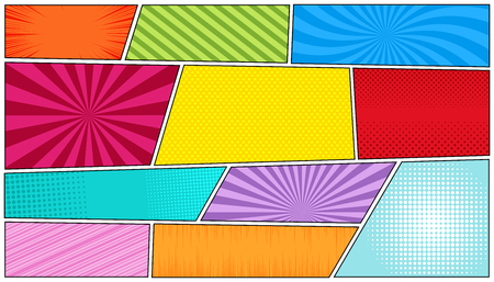 Illustration pour Comic bright horizontal background with radial, rays, dotted, sound waves, halftone, slanted lines in pop-art style. Vector illustration - image libre de droit
