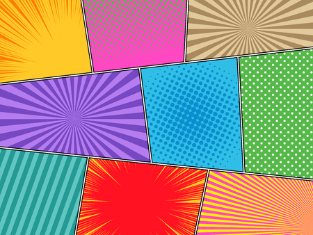Illustration pour Comic book horizontal background with halftone rays dotted radial striped effects in bright different colors in pop-art style. Vector illustration - image libre de droit