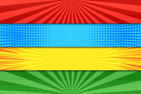 Illustration pour Comic book colorful horizontal banners with halftone rays dotted radial effects in blue red green yellow colors. Vector illustration - image libre de droit