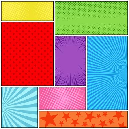 Ilustración de Comic book page colorful composition - Imagen libre de derechos