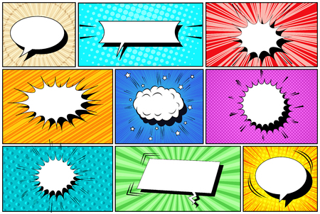 Illustration pour Comic white speech bubbles collection with clouds radial halftone slanted lines and rays humor effects. Vector illustration - image libre de droit