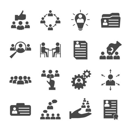 Illustration pour Human resources management icons collection with business people hiring and recruitment elements. Isolated vector illustration - image libre de droit