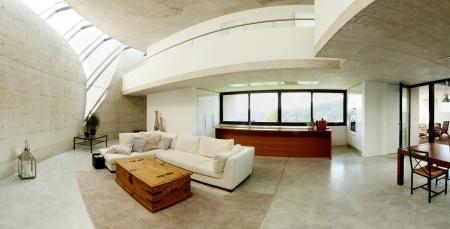interior of modern concrete house, living room