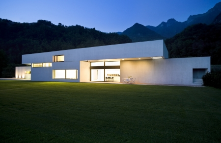 exterior, modern house with big garden
