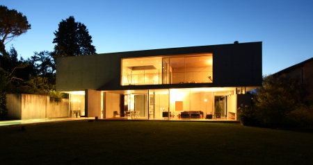 modern house, exterior at the night