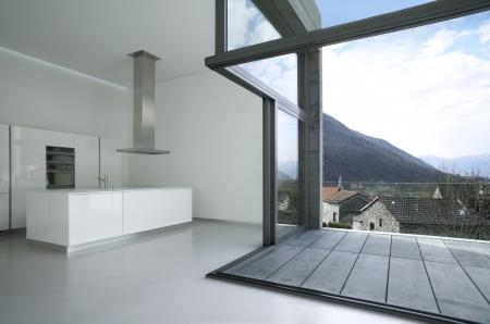 villa design in concrete, interior view