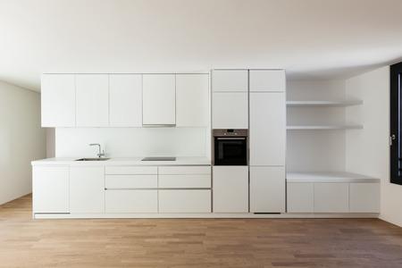interior new house, modern white kitchen