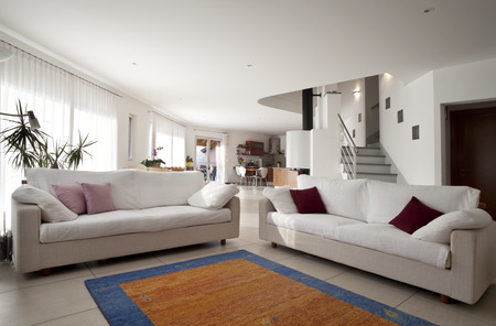 Photo pour interior apartment, livingroom with sofa and carpet - image libre de droit
