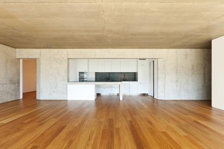 modern concrete house with hardwood floor,  kitchen